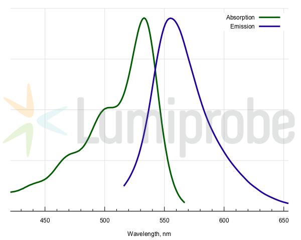 Absorptions- und Emissionsspektren des Fluorophors JOE